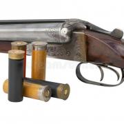 Two trigger old shotgun isolated cartridges hunting vintage rifle white background 32468503